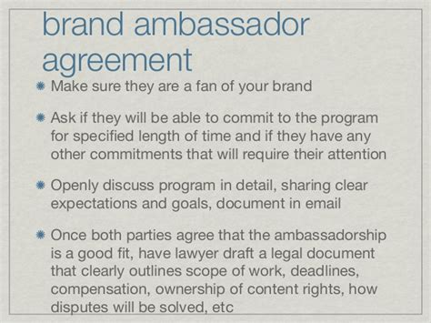 Brand Ambassador Program Blueprint By Britt Michaelian Brand Rep Contract Template