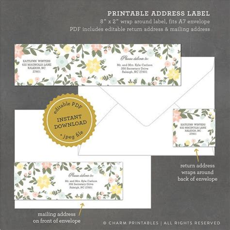 label templates for invitations instant download printable floral address label editable