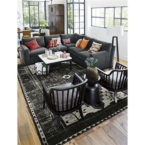 crate and barrel castillo floor l axis ii leather 2 sectional sofa sectional sofas
