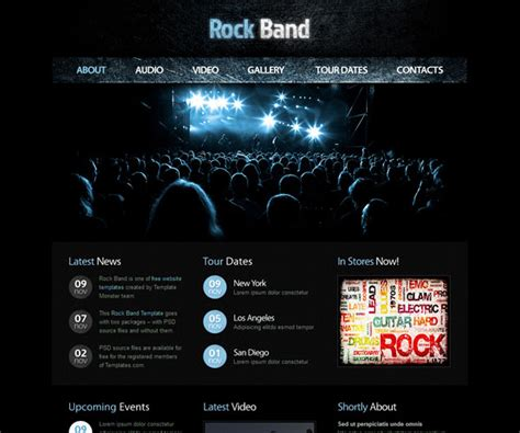 Rock Band Web Template 15 Free Music Html Website Templates Templatemag
