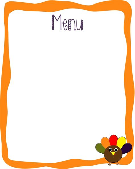 blank menu template for kids world of printable and chart