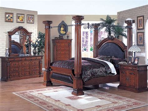 empire bedroom set canopy bed 6 piece roman empire bedroom set in cherry finish by acme 9340