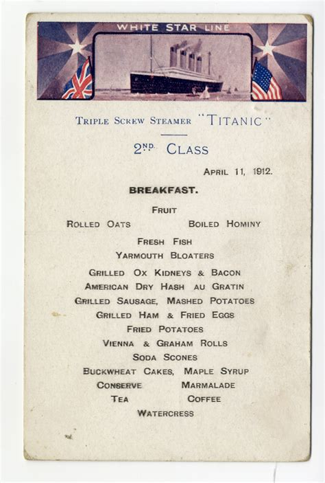 titanic second class menu r m s titanic extremely rare second class breakfast menu
