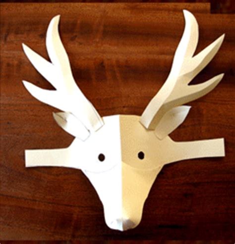 printable deer mask template puppet project pages