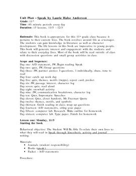 Speak By Laurie Halse Essay by Complete Unit Plan And Worksheets For Speak By Laurie Halse