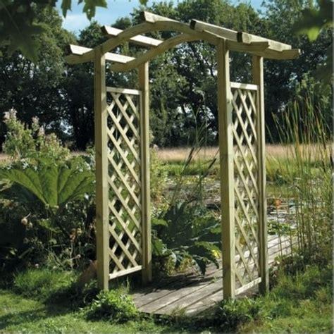 wooden omega lattice garden arch