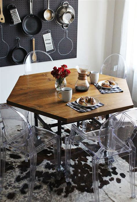 hexagon shaped kitchen table diy honeycomb table with industrial pipe legs a