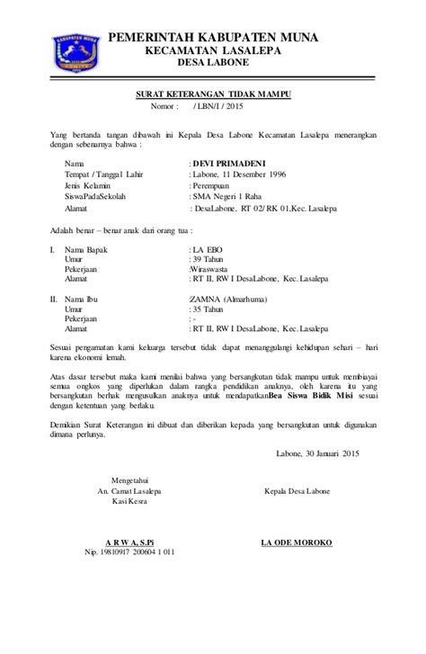 format surat keterangan penghasilan orang tua dari desa surat keterangan tidak mu