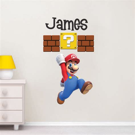 Mario Personalized Name Decal   Super Mario Wall Decal