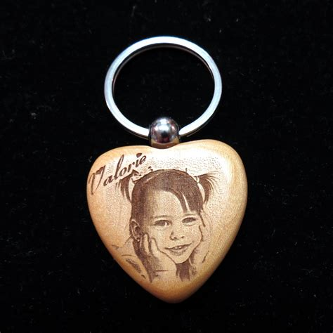 engraved wooden photo key chains enchanted memories