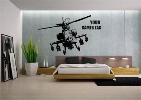 Xbox Bedroom Wallpaper Call Of Duty Style Apache Helicopter Gamer Tag Cod Boys