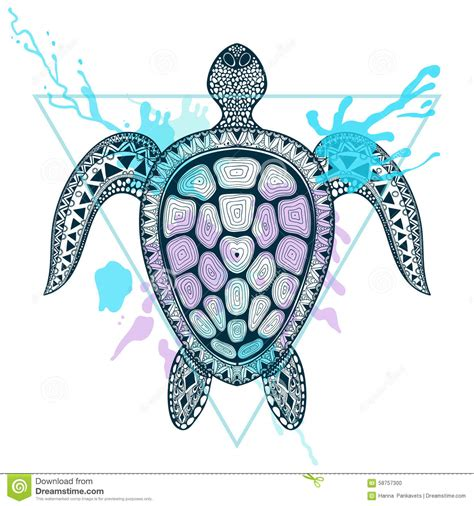 zentangle stylized ocean turtle in triangle frame with