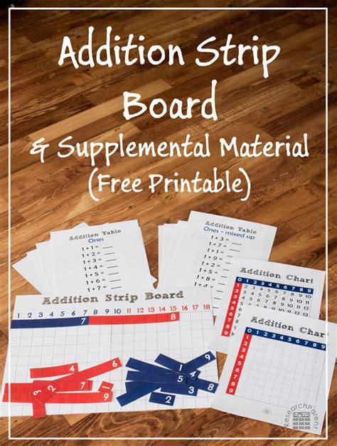 printable montessori addition strip board free montessori addition strip board printable money
