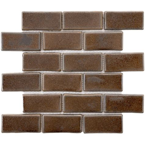 Home Depot Subway Tile by Merola Tile Cobble Subway Noce 12 In X 12 In X 13 Mm