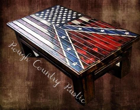 Deluxe Home Defense Coffee Table ( Charred American Flag with Torn In Confederate Battle Flag