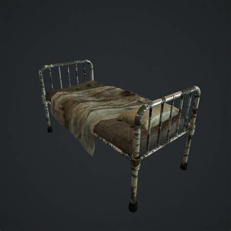old bed 3d model old hospital bed vr ar low poly obj fbx c4d lwo lw lws lxo lxl mtl