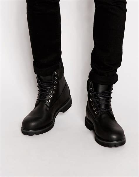 all black leather timberland classic 6 premium boots