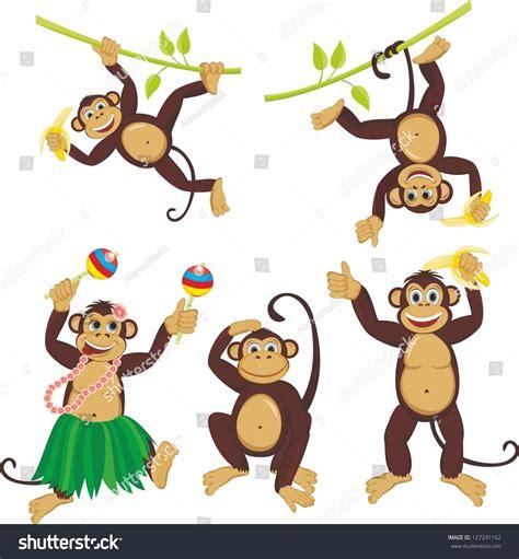 Monkey Set 1 set monkeys set stock vector 127241162