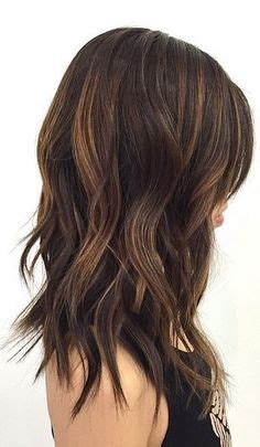 14 medium length textured crop dark brown ombre balayge with honey blonde and caramel