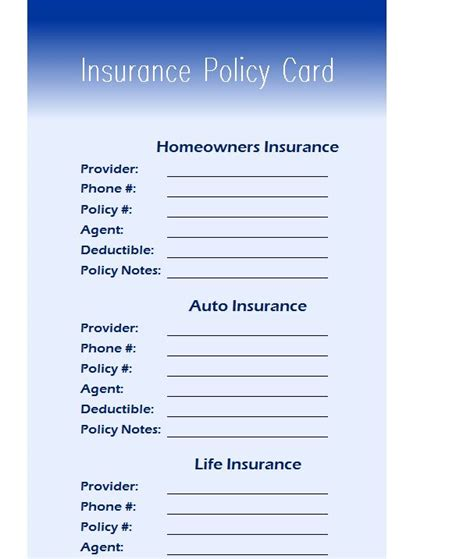 Insurance Policy Card My Excel Templates Insurance Policy Template