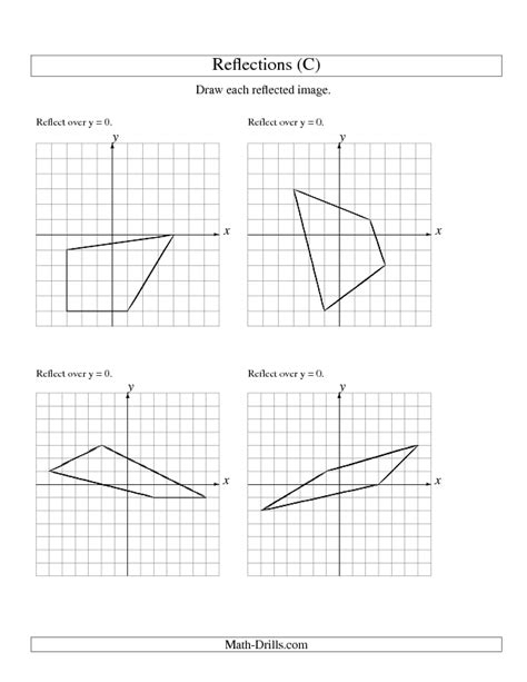 Reflection Worksheets by Geometry Worksheet Reflection Of 4 Vertices The X