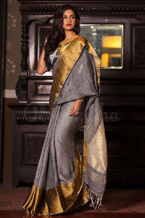 Blouse Fashion Bordirr grey linen saree with wide zari border handlooms