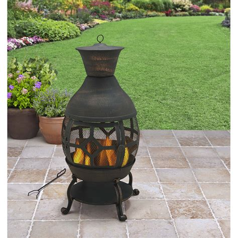 Black Clay Chiminea Cast Iron Outdoor Chiminea Modern Patio Outdoor