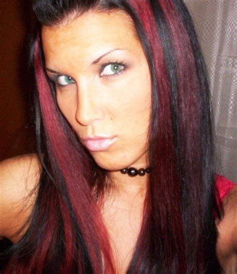 pictuted of red highlights on dark hair with spiky cut black hair with red highlights hair pinterest red