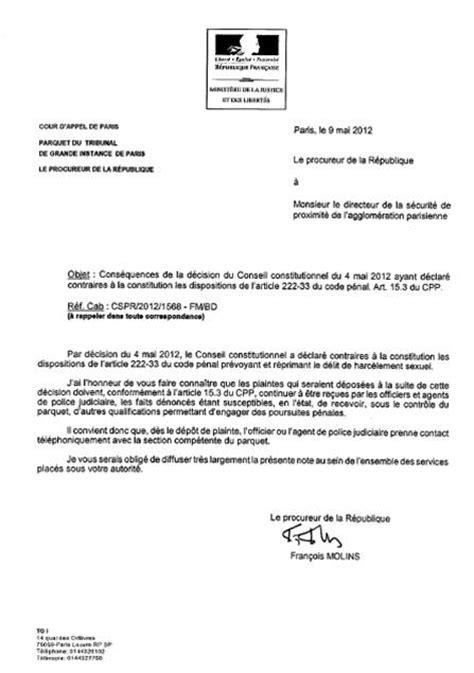 Exemple De Lettre Harcèlement Moral Visuel Modele Lettre Au Procureur De La Republique