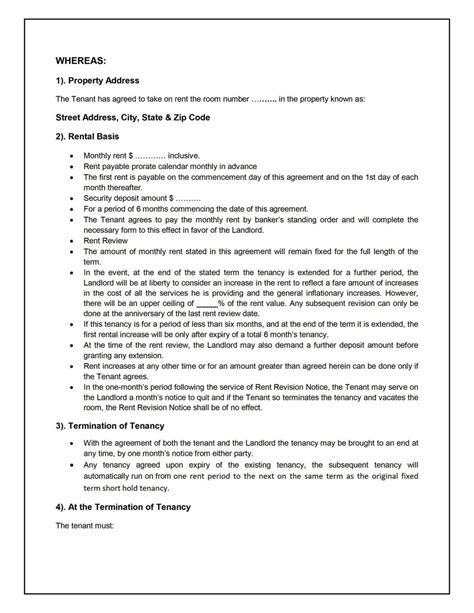 House Sharing Agreement Template   SampleTemplatess