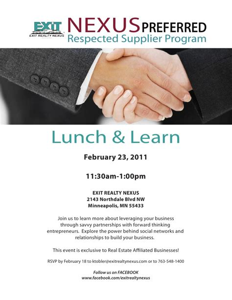 Nexus Preferred Feb 23rd Lunch And Learn Invite Lunch And Learn Presentation Template