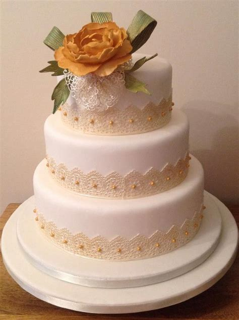 Wedding Cake Edible Lace by You To See Gold Inspired Edible Lace Wedding Cake By