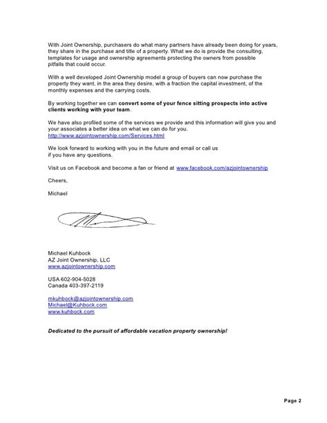 Sle Letter Of Joint Ownership Agreement letter to real estate professionals