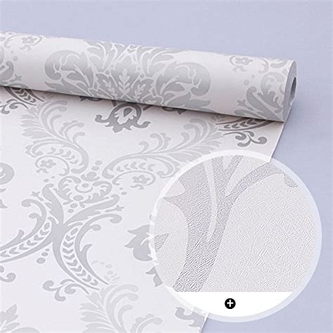 Removable Shelf Liner by Simplelife4u Vintage Gray Damask Removable Pvc Shelf