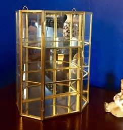 Curio Cabinets Rochester Ny Sm Glass Brass Mirror Curio Display Cabinet Or Perfume