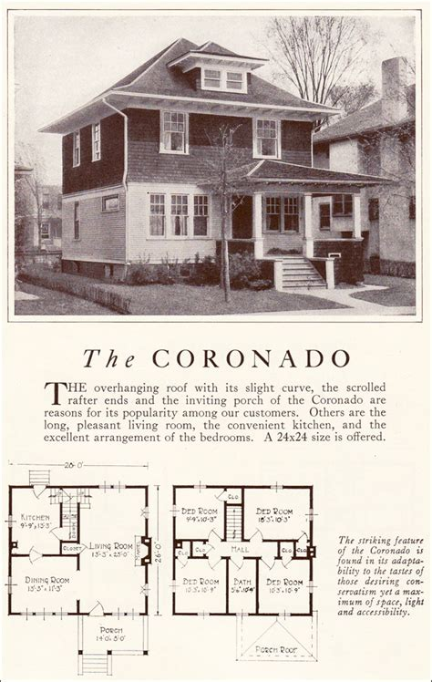 Mfg Homes Floor Plans by 1922 Coronado American Foursquare Lewis Manufacturing