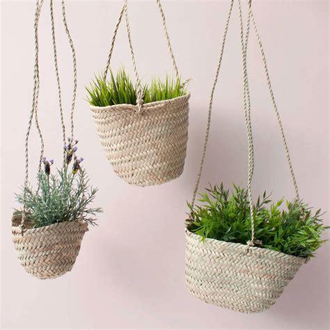 natural woven hanging planter basket by bohemia
