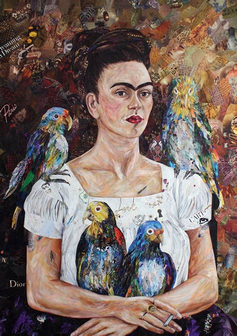 frida kahlo biography artwork saatchi art frida with parrots after frida kahlo collage