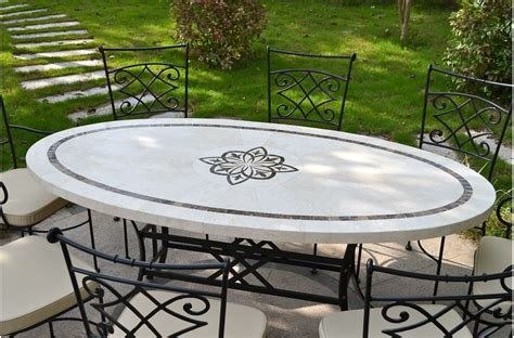 tiled bench tops 180x100cm outdoor garden mosaic marble stone table ellipse