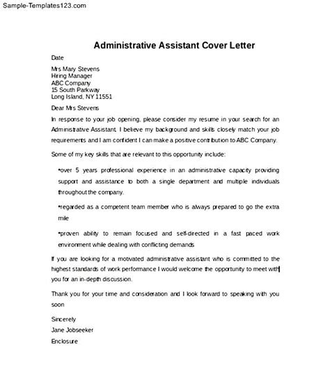 exle of administrative assistant cover letter sle