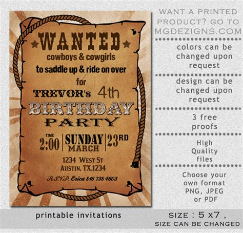 printable rustic western wanted poster birthday invitation