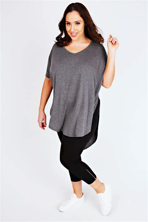 Cotton Cropped black cotton elastane cropped legging with zip detail plus