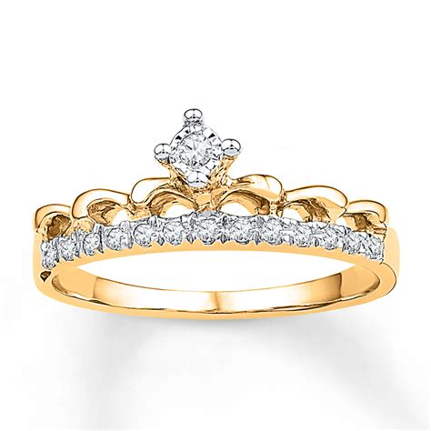 jared crown ring 1 10 ct tw diamonds 10k yellow gold