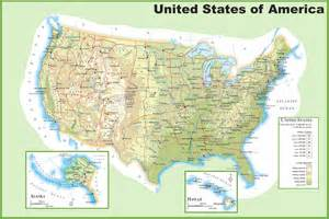 geography physical map of the united states of america