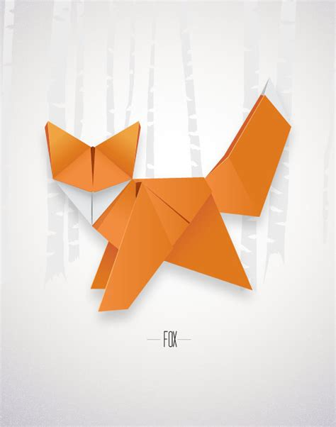 Origami Poster - origami fox print poster minimal modern decor wall by