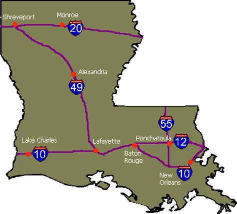 louisiana map interstate 10 louisiana