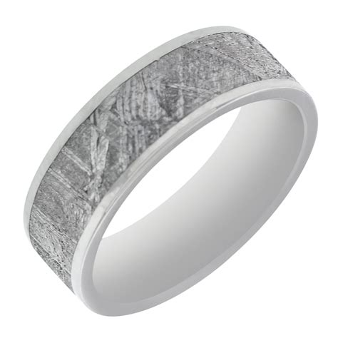 mens meteorite wedding band in titanium 7mm intended for