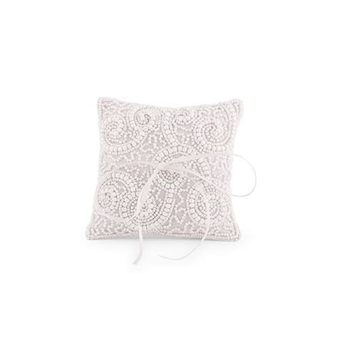 white beaded miniature wedding ring pillow weddingstar