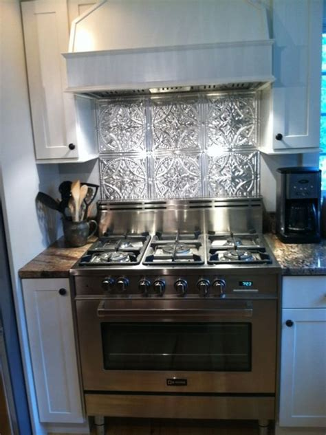 aluminum backsplash kitchen stainless steel stove fabulous tin backsplash ceiling tile ideas pinterest metals stove