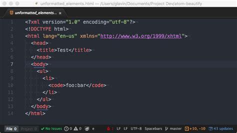 format html code in atom atom beautify